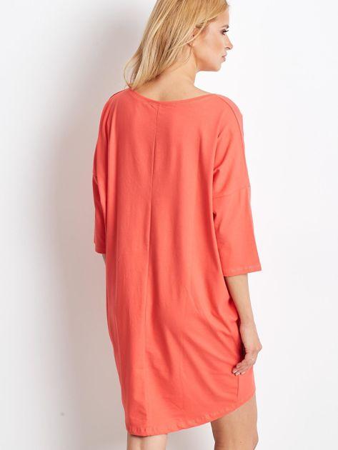 Pomarańczowa dresowa sukienka oversize                              zdj.                              2
