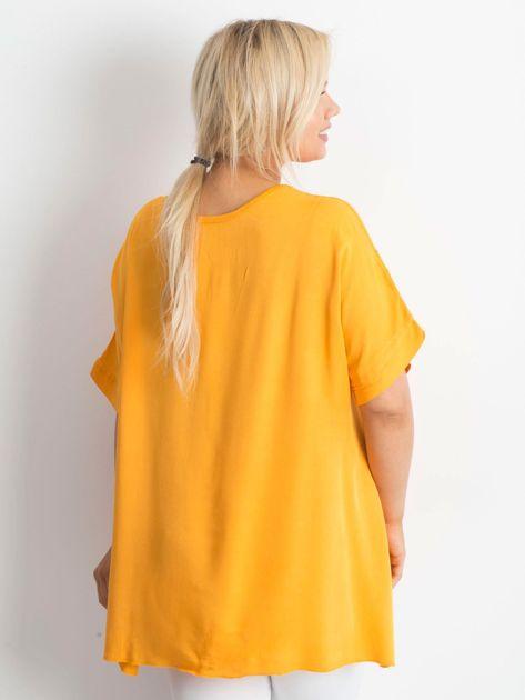 Pomarańczowa haftowana tunika PLUS SIZE                              zdj.                              2