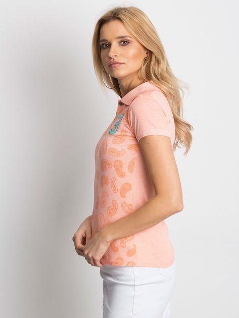 Pomarańczowa koszulka polo z motywem paisley                              zdj.                              3