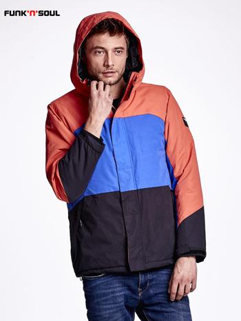 Pomarańczowa kurtka męska z kolorowymi modułami FUNK N SOUL                              zdj.                              4