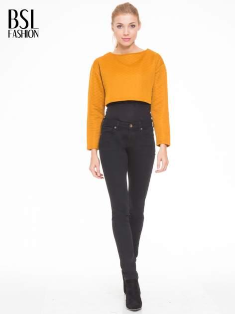 Pomarańczowa pikowana bluzka cropped                                  zdj.                                  2