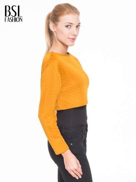 Pomarańczowa pikowana bluzka cropped                                  zdj.                                  3