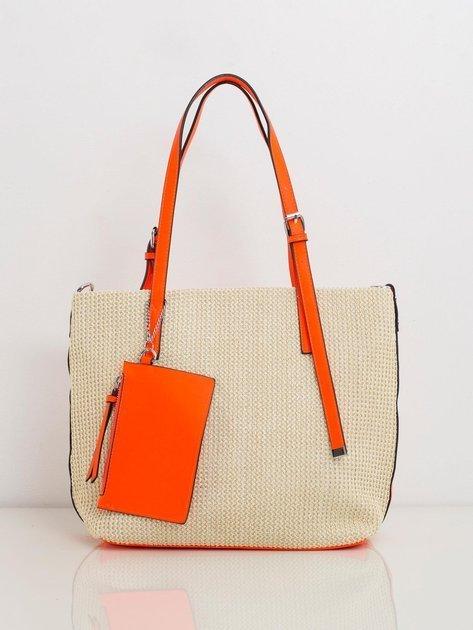 Pomarańczowa pleciona torba na ramię