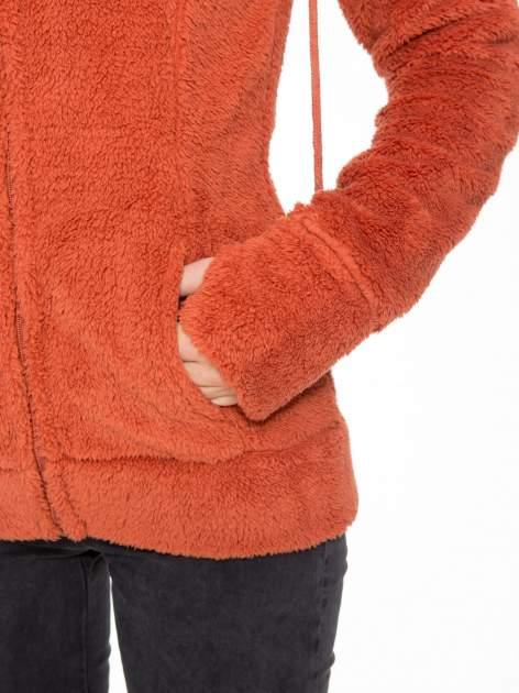Pomarańczowa polarowa bluza miś z kapturem z uszkami i pomponami                                  zdj.                                  9