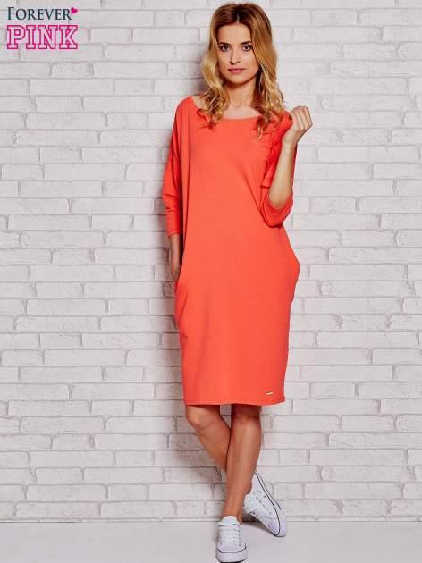 Pomarańczowa prosta sukienka dresowa                                  zdj.                                  2