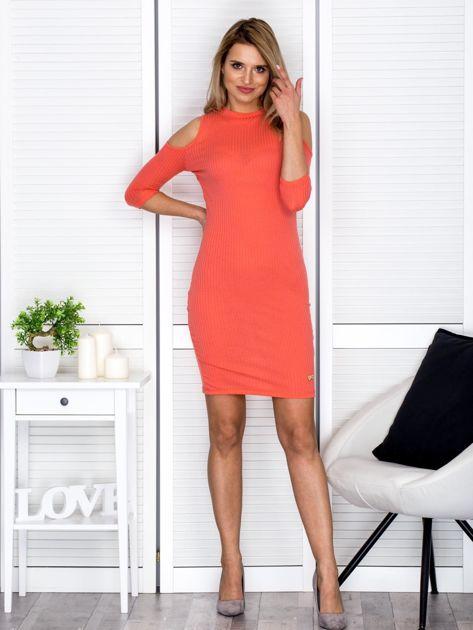 Pomarańczowa sukienka cold arms prążkowana                                  zdj.                                  4
