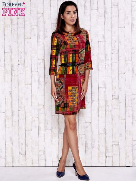 Pomarańczowa sukienka w kolorowe etniczne wzory                                  zdj.                                  2