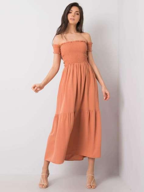 Pomarańczowa sukienka z falbaną Pallavi RUE PARIS