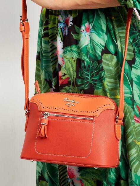 Pomarańczowa torebka listonoszka z ekoskóry                              zdj.                              1