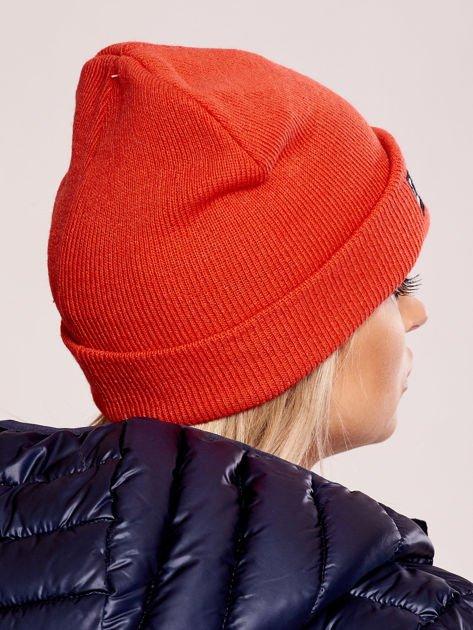 Pomarańczowa wywijana czapka z napisem LONDON                              zdj.                              3