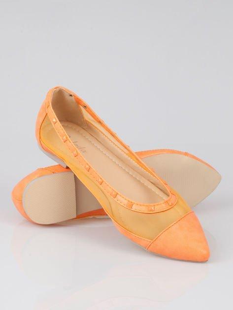 Pomarańczowe baleriny Crystal leather z siateczką i ćwiekami                                  zdj.                                  4