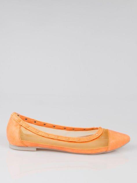Pomarańczowe baleriny Crystal leather z siateczką i ćwiekami                                  zdj.                                  1
