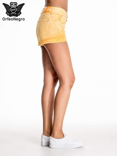 Pomarańczowe jeansowe szorty                                  zdj.                                  5