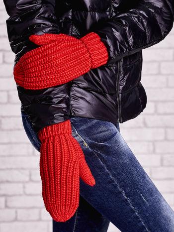 Pomarańczowe proste rękawiczki na jeden palec z grubej wełny                                  zdj.                                  1