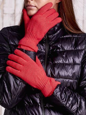 Pomarańczowe rękawiczki ze ściągaczem i podwójnym mankietem                                  zdj.                                  1