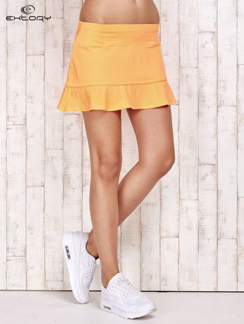 Pomarańczowe spodenki spódniczka tenisowa z falbanką                                  zdj.                                  1