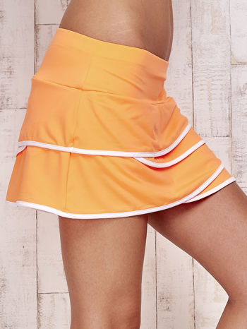 Pomarańczowe spodenki spódniczka tenisowa z falbankami                                  zdj.                                  5
