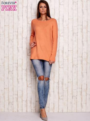 Pomarańczowy dzianinowy sweter                                   zdj.                                  2