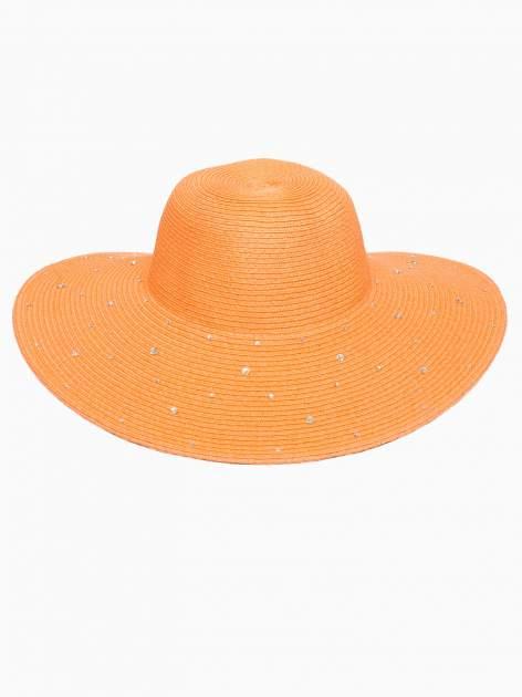 Pomarańczowy kapelusz z dużym rondem i dżetami                                  zdj.                                  2