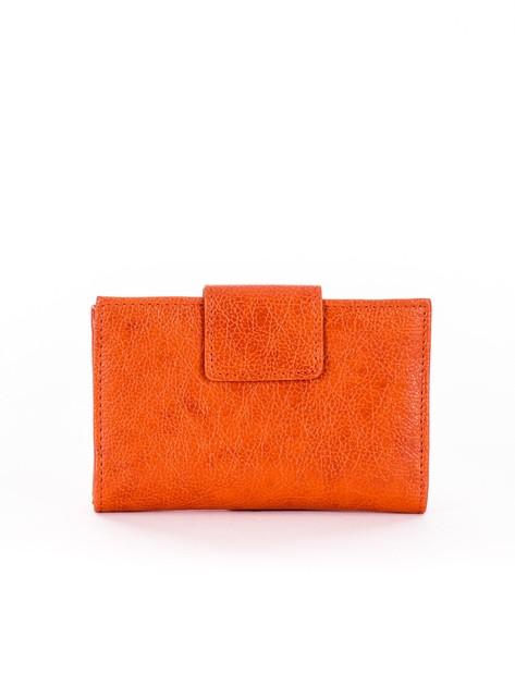 Pomarańczowy portfel damski z klapką