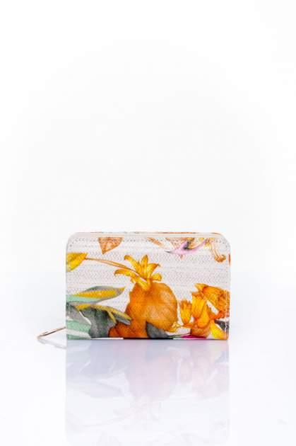 Pomarańczowy portfel z kwiatowym nadrukiem                                  zdj.                                  1