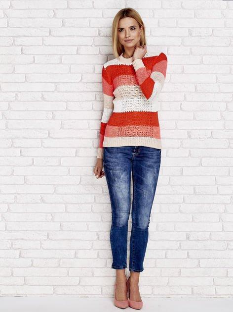 Pomarańczowy sweter w kolorowe paski                                  zdj.                                  4