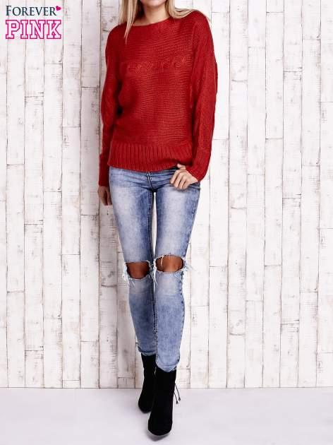 Pomarańczowy sweter z warkoczowym splotem                                  zdj.                                  4