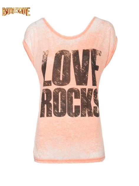 Pomarańczowy t-shirt LOVE ROCKS                                  zdj.                                  1
