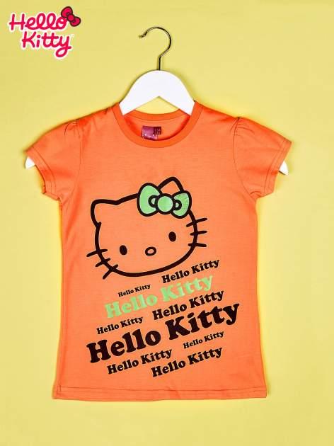 Pomarańczowy t-shirt dla dziewczynki HELLO KITTY