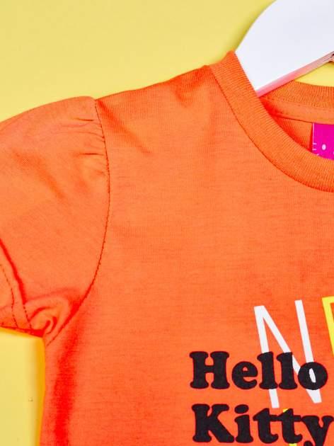 Pomarańczowy t-shirt dla dziewczynki HELLO KITTY z gwiadkami                                  zdj.                                  3