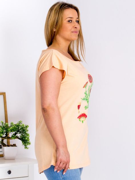 Pomarańczowy t-shirt z kwiatowym printem PLUS SIZE                                  zdj.                                  3