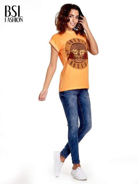 Pomarańczowy t-shirt z nadrukiem GUNS N' ROSES                                  zdj.                                  7