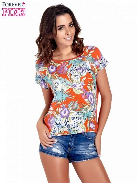 Pomarańczowy t-shirt z nadrukiem floral print