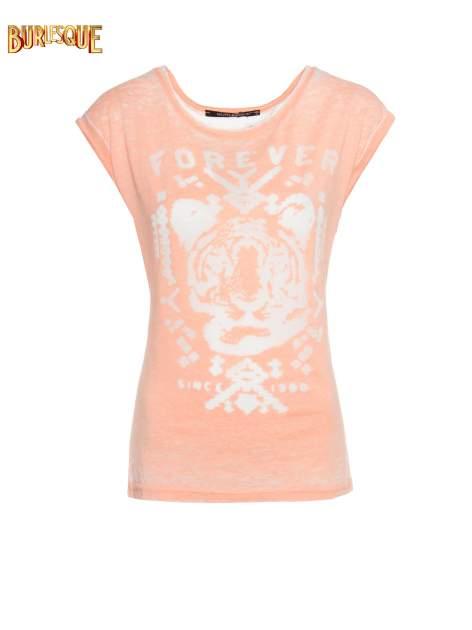 Pomarańczowy t-shirt z napisem FOREVER i nadrukiem tygrysa                                  zdj.                                  7