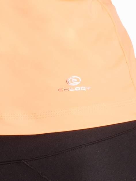 Pomarańczowy top sportowy z ozdobnym wycięciem z tyłu                                  zdj.                                  4