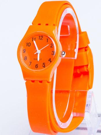 Pomarańczowy zegarek damski na silikonowym pasku                                  zdj.                                  1