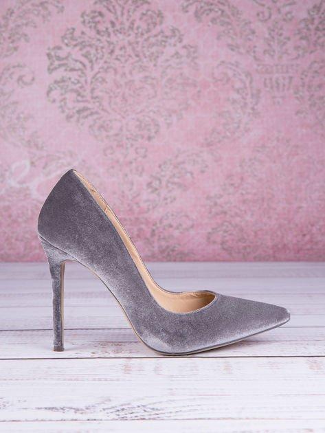 Popielate welurowe szpilki w szpic Grey Velvet