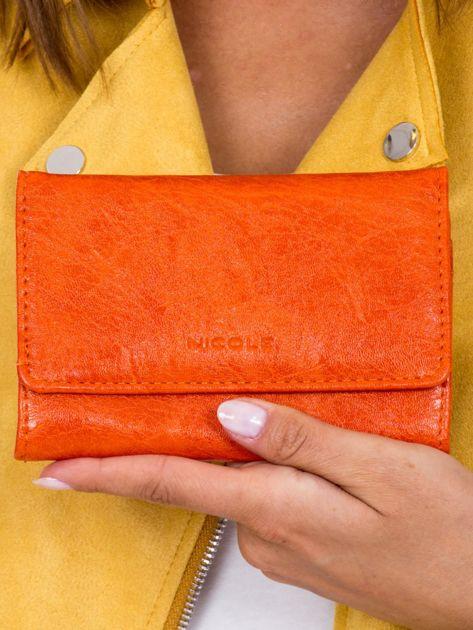 Portfel damski pomarańczowy z ekoskóry