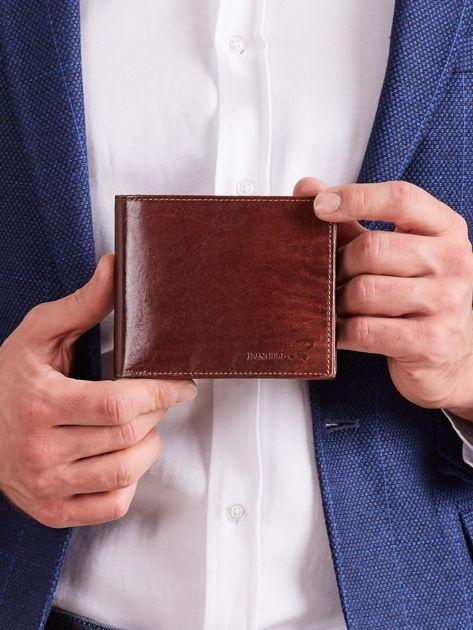 Poziomy portfel męski bez zapięcia brązowy