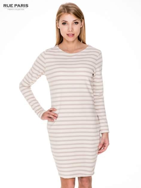 Prosta sukienka w biało-beżowe paski ze złotą nitką                                  zdj.                                  1