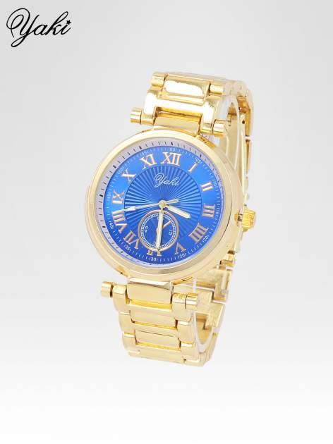 Prosty złoty zegarek damski na bransolecie z niebieską tarczą                                  zdj.                                  2