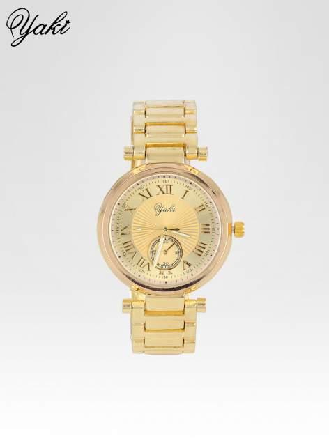 Prosty złoty zegarek damski na bransolecie ze złotą tarczą