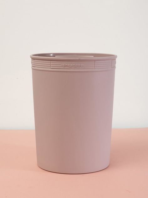 Pudroworóżowy pastelowy kosz na śmieci z holderem na worek                              zdj.                              2