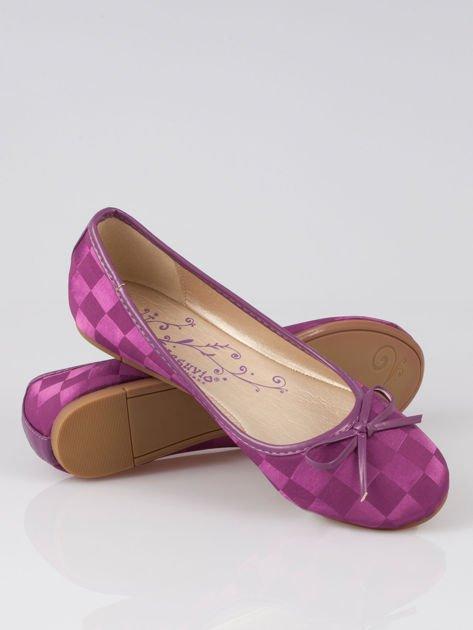Purpurowe baleriny Satin Check z motywem szachownicy                                  zdj.                                  4