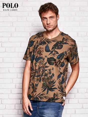 RALPH LAUREN Brązowy t-shirt męski z roślinnym nadrukiem                                  zdj.                                  3