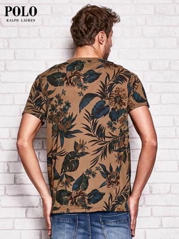 RALPH LAUREN Brązowy t-shirt męski z roślinnym nadrukiem