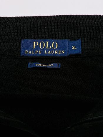 RALPH LAUREN Czarna koszulka polo męska z naszywką                                  zdj.                                  4