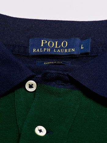 RALPH LAUREN Granatowa koszulka polo męska w szerokie pasy                                  zdj.                                  4
