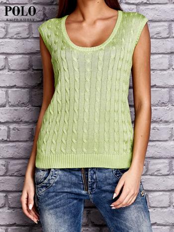 RALPH LAUREN Limonkowy sweter z warkoczowym splotem                                  zdj.                                  1