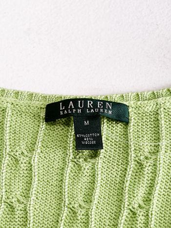 RALPH LAUREN Limonkowy sweter z warkoczowym splotem                                  zdj.                                  4